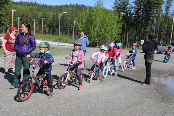 Students biking in Stikine