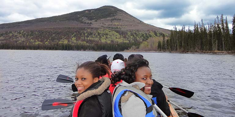 Peace River North School District students canoeing