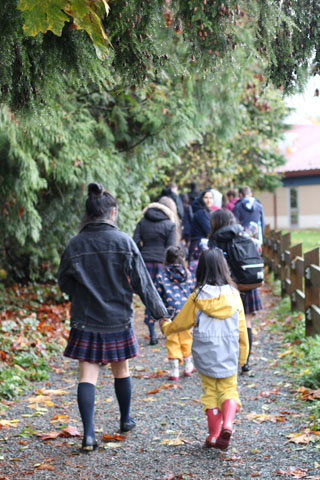 A group of Meadowridge Students on a walk