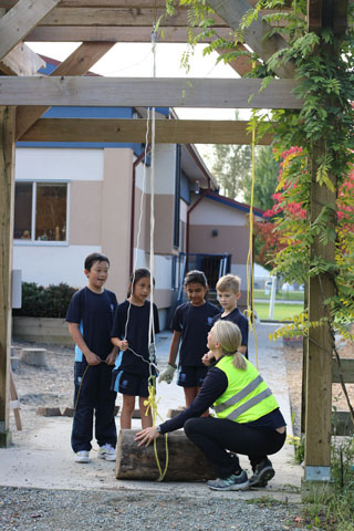 Meadowridge School students learning outside