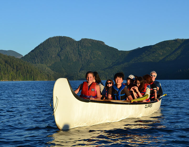 Vancouver Island West students canoeing